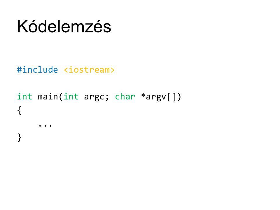 Kódelemzés #include <iostream> int main(int argc; char *argv[]) { ... }